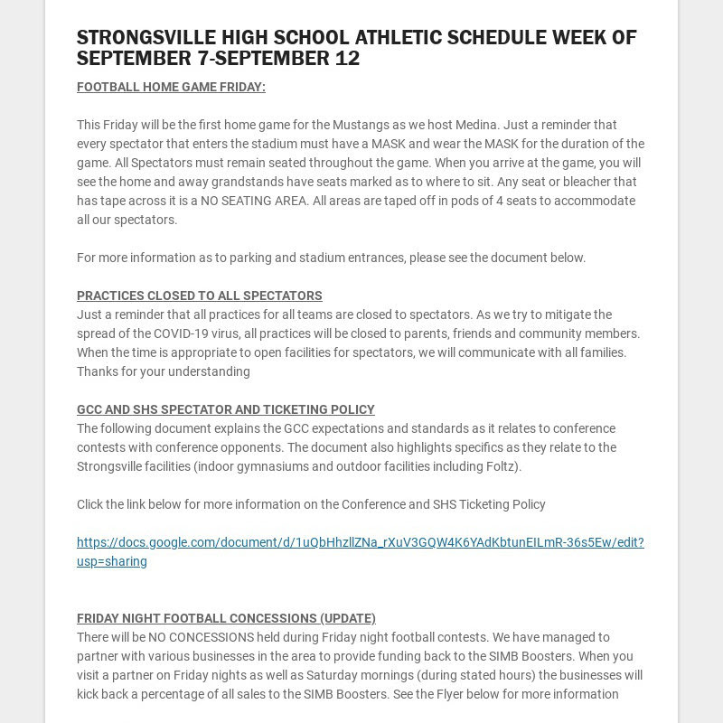 STRONGSVILLE HIGH SCHOOL ATHLETIC SCHEDULE WEEK OF SEPTEMBER 7-SEPTEMBER 12 FOOTBALL HOME GAME...