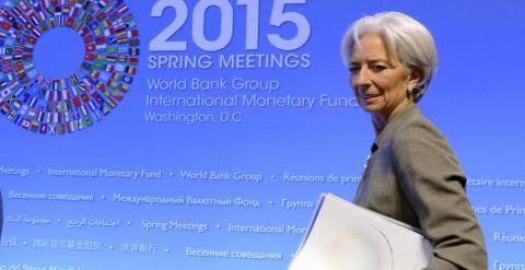La directora gerente del Fondo Monetario Internacional, Christine Lagarde, comunica su rechazo ante el posible retraso del pago de la deuda de Grecia. REUTERS/Mike Theiler