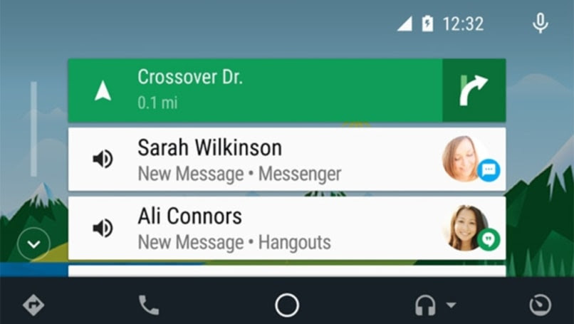 The Android Auto home screen.