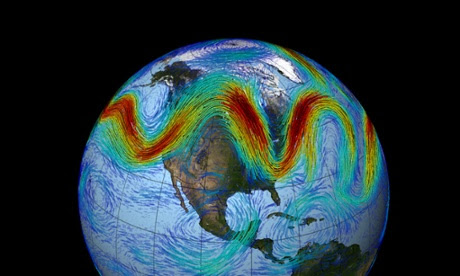 The jet stream that circles Earth's north pole travels west to east. But when the jet stream interacts with a Rossby wave, as shown here, the winds can wander far north and south, bringing frigid air to normally mild southern states.
