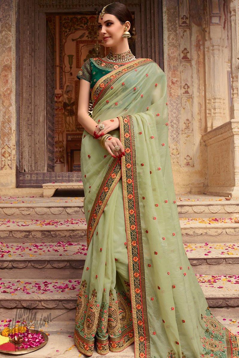 Light and Bottle Green Organza Silk Wedding Saree