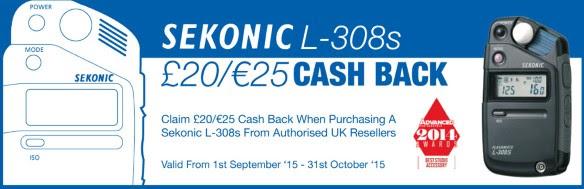 Sekonic L-308s Cash Back Promotion - 1st September 2015 - 31st October 2015