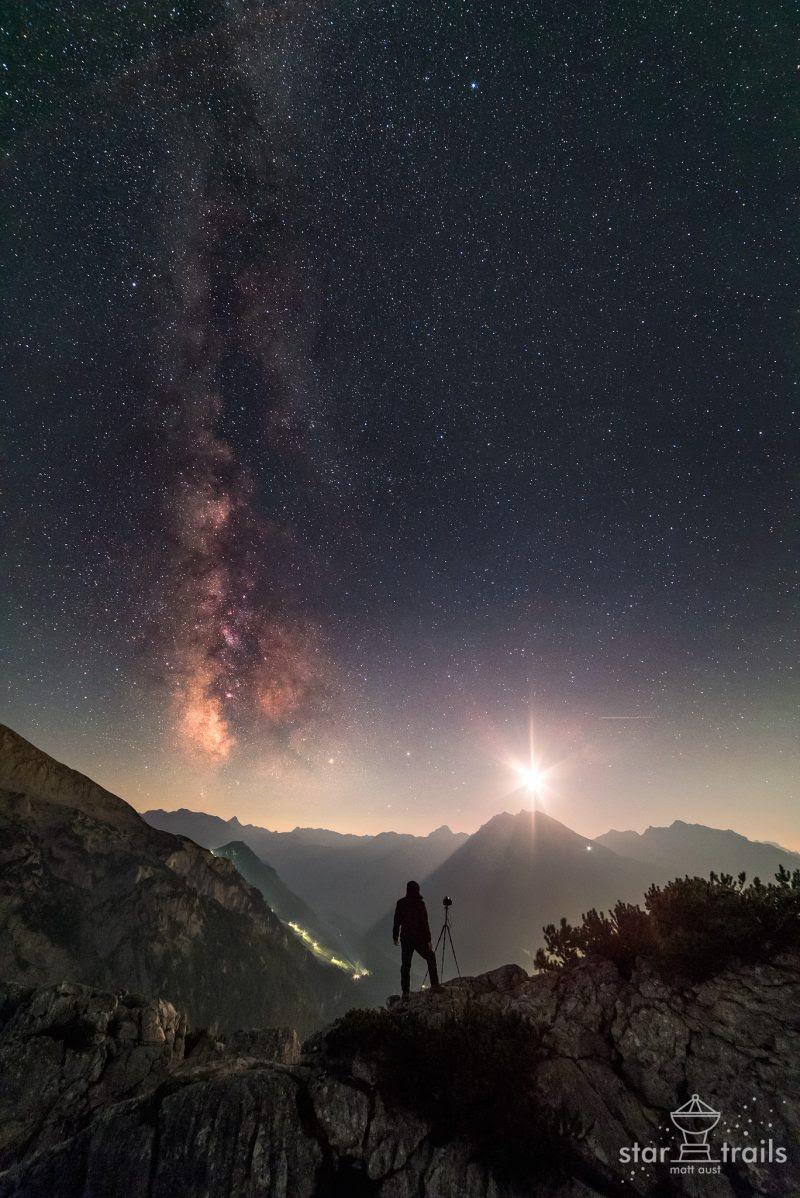 The Milky Way with a 30% illuminated moon - September 8, 2016 - via Matt Aust - startrails.