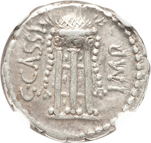 C. Cassius Longinus, Imperator and Assassin of Caesar (44-42 BC). AR denarius (18mm, 3.98 gm, 6h). NGC Choice VF★ 5/5 - 4/5