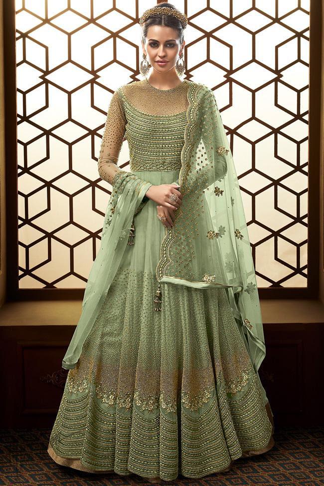 Pista Green Net Wedding Anarkali Suit