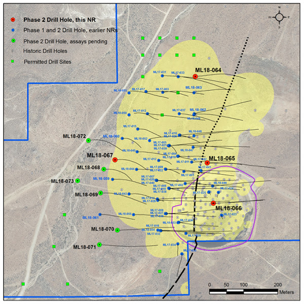 Figure 1. Plan map showing recent drill holes on Mother Lode Project with exploration target area