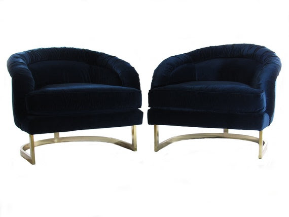 25% Off Sale, Navy Velvet and Brass Lounge Chairs