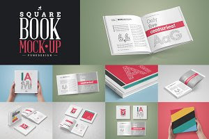 Square Book Mock-Up Set