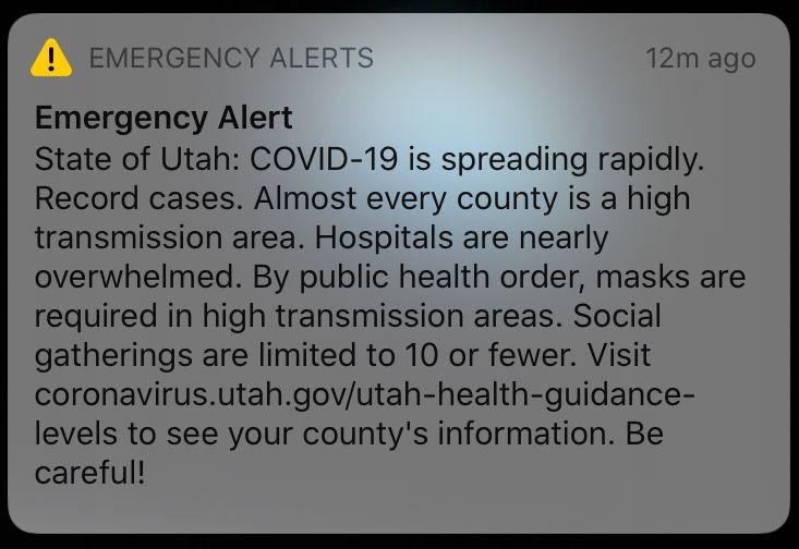 Utah covid alert