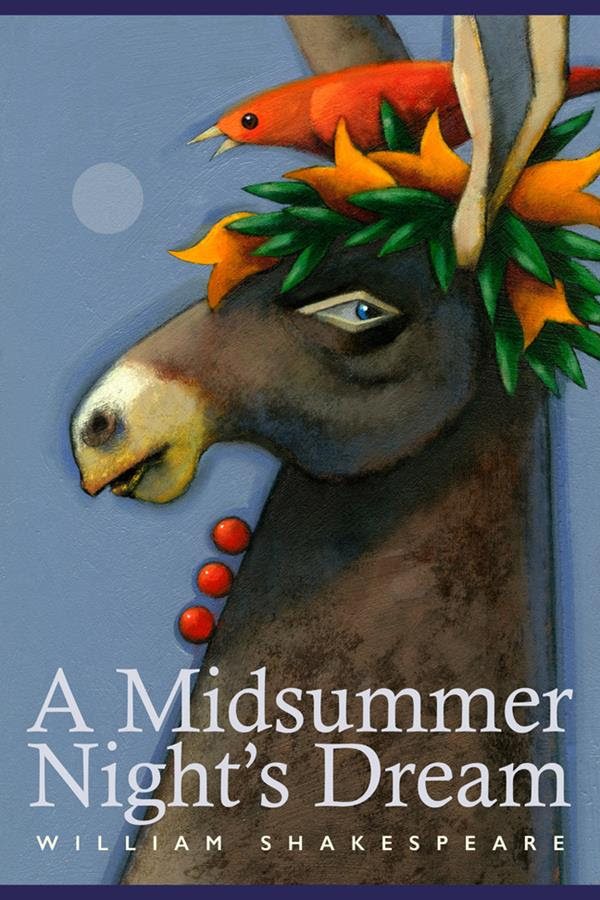 Artistis Brian Bean's interpretation of William Shakespeare's A Midsummer Night's Dream. The painting includes an image of a donkey with laurels and a red bird on its head.