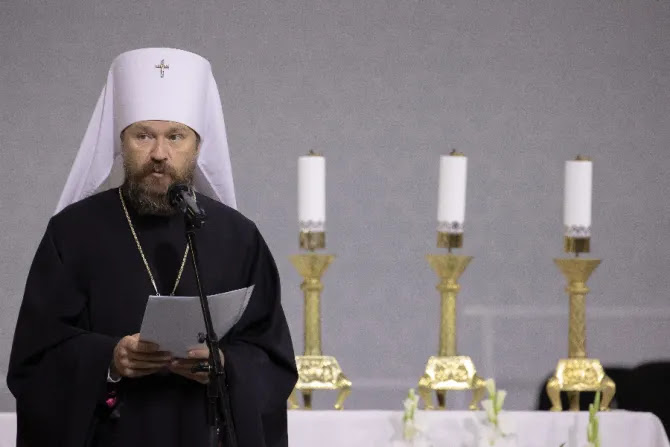 Russian Orthodox leader Metropolitan Hilarion speaks at the International Eucharistic Congress in Budapest, Hungary, Sept. 6, 2021.