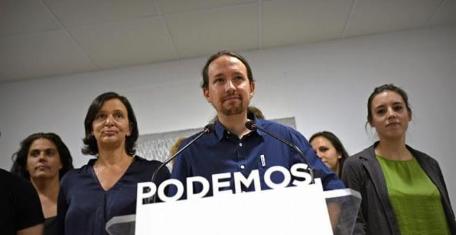 El Secretario General de Podemos, Pablo Iglesias, durante la rueda de prensa que ha ofrecido en la sede de la formación en Madrid, valorando los resultados en las elecciones catalanas./ EFE