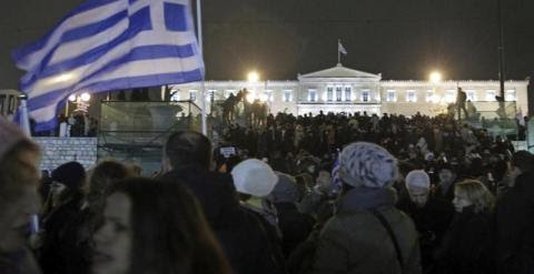 Vista de la manifestación a las puertas del Parlamento griego. - EFE