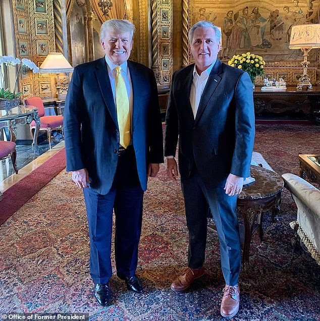 House Minority Leader Kevin McCarthy (right) is being pressured to remove Rep. Marjorie Taylor Greene from Congressional committees. Greene has publicly remained aligned with former President Donald Trump (left), while McCarthy visited Trump last week