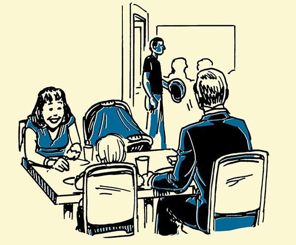 family at restaurant shady guy walking in illustration