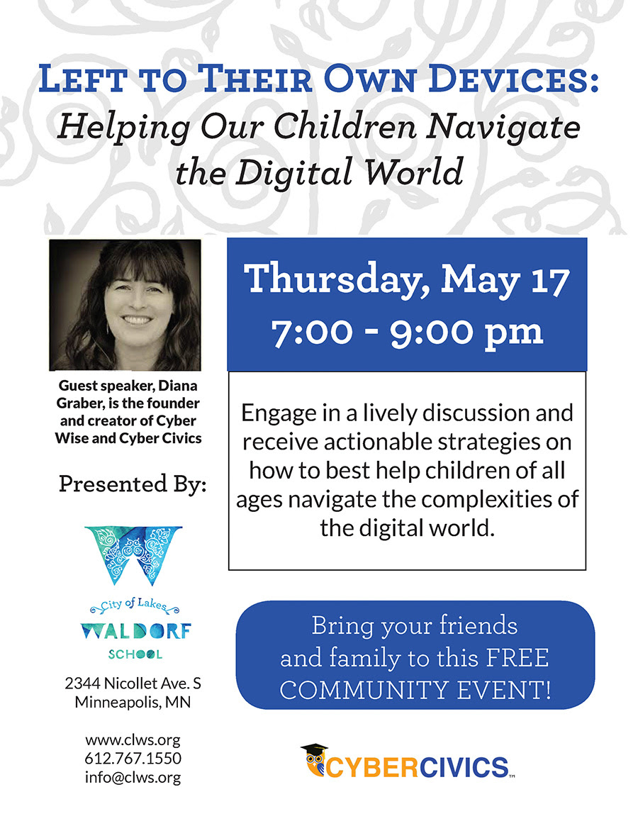 CyberCivics founder Diana Graber is coming to CLWS on Thursday, May 17