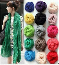 New Women Long Big Crinkle Voile Soft Scarf Wrap Shawl Stole Pure Candy 20 Color