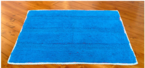 Elysia Blue Yarn Dyed Bath Mat with Crochet Lace Border
