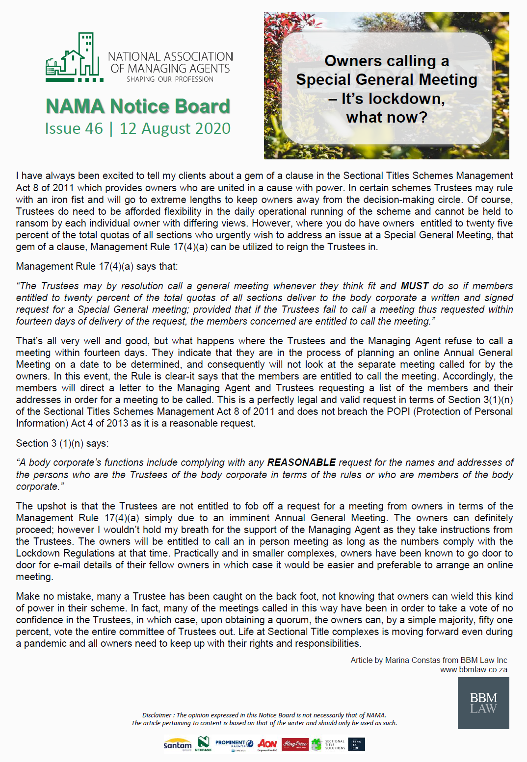 NAMA Notice Board | Issue 46 | 12 August 2020 | Special General Meeting during Lockdown-12/08/20