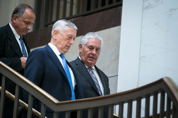 Defense Secretary Jim Mattis, center, and Secretary of State Rex W. Tillerson arriving to brief the Senate Foreign Relations Committee on Wednesday.