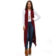 Isaac Liev Extra Long Sleeveless Cardigan Duster Vest