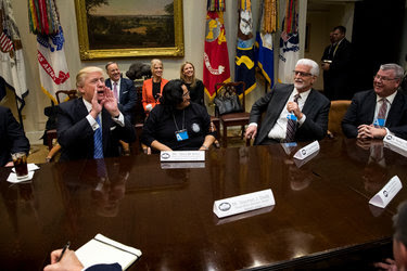 President Trump yelled for the press pool to return to a meeting with union leaders on Monday after one of the leaders praised his Inaugural Address.