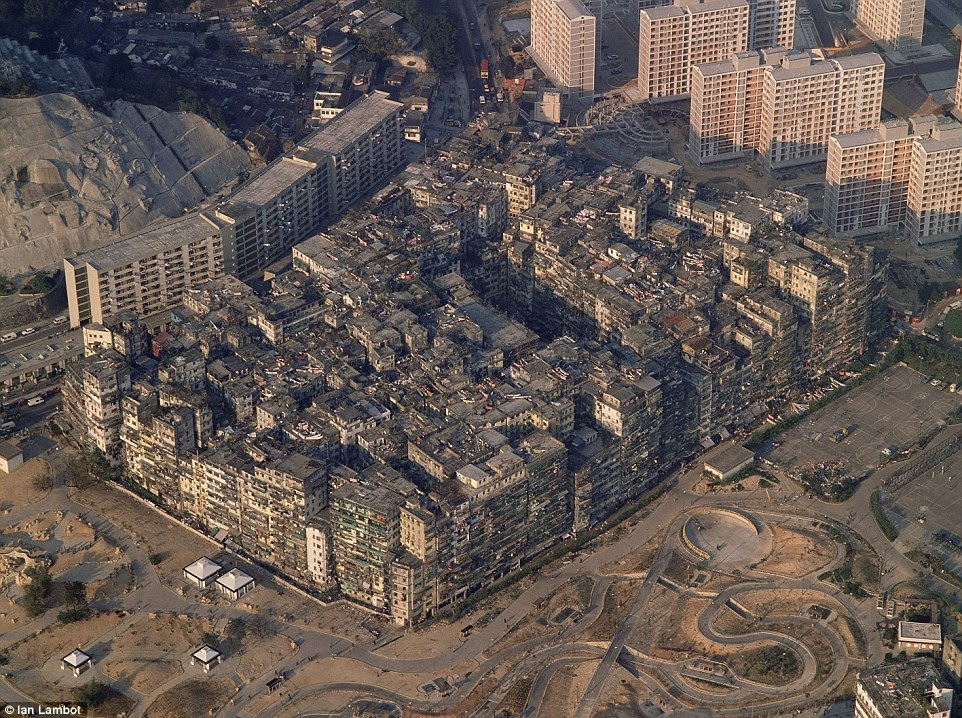 Kowloon Walled City, in Hong Kong, had more than 300 high-rise apartments and an estimated 33,000 people crammed within the site