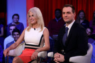 Kellyanne Conway, Donald J. Trump's campaign manager, and Robby Mook, Hillary Clinton's campaign manager, at Harvard University on Thursday.