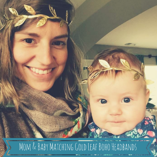 Mom and Baby Matching Gold Leaf Boho Headbands