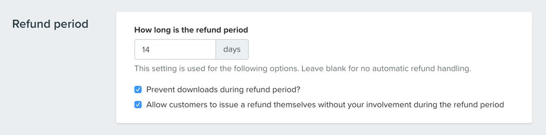 Refund period settings