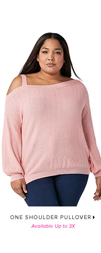 ONE SHOULDER PULLOVER AVAILABLE UP TO 3X