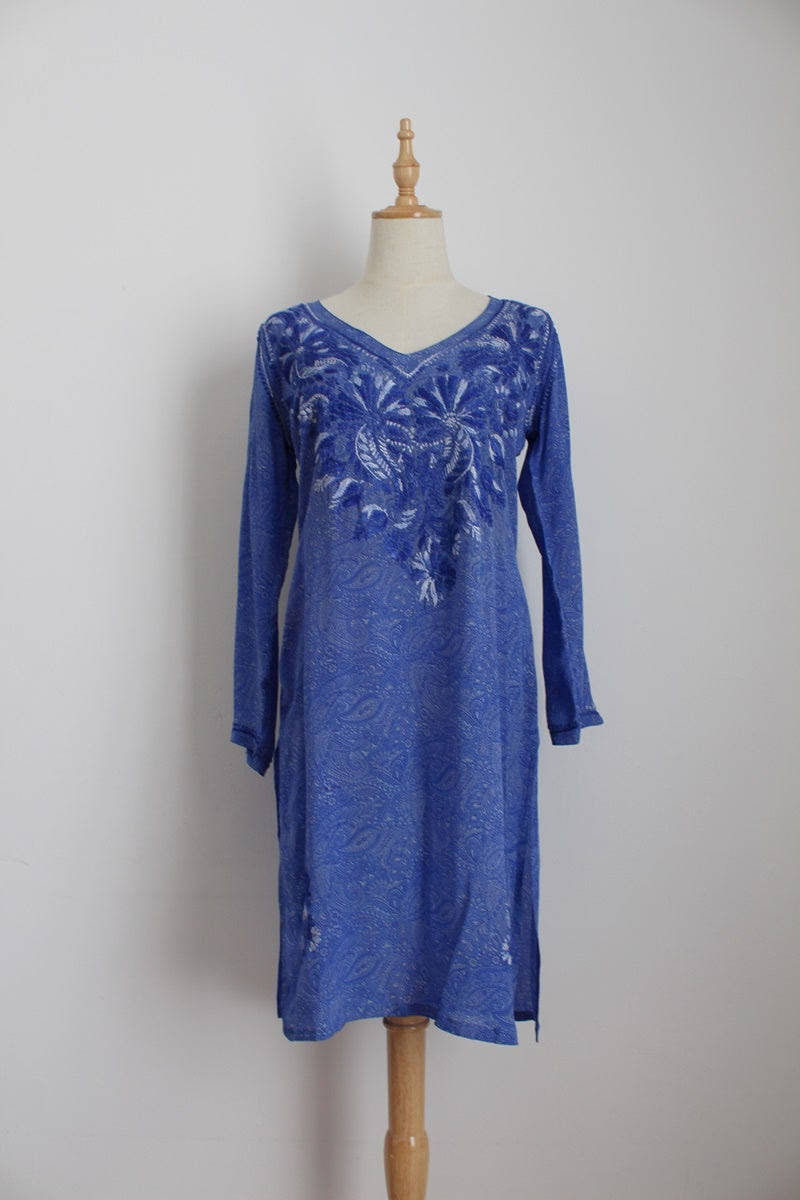 100% SILK INDIAN SUMMER BLUE KAFTAN COVERUP - SIZE XS