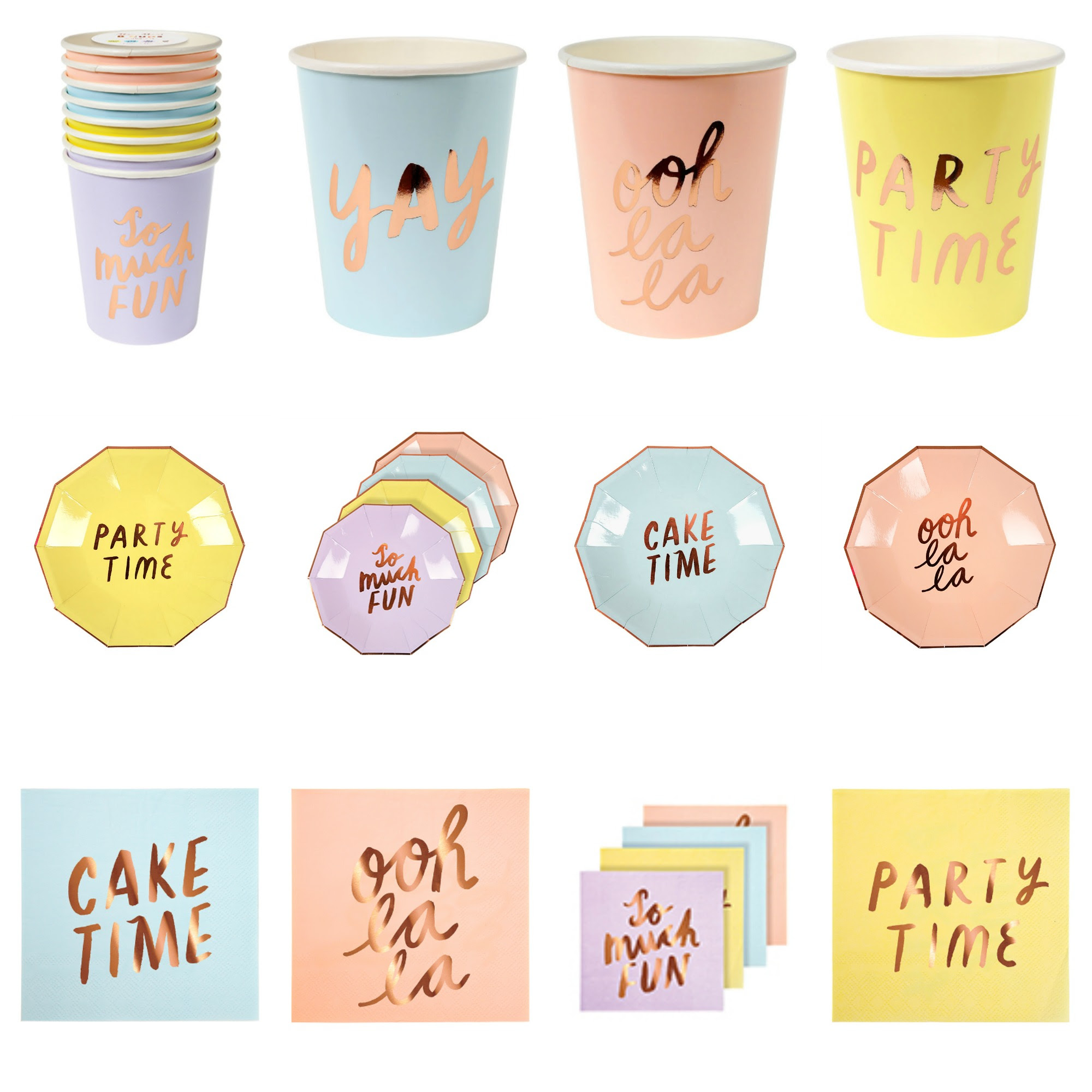 Pop Roc Parties | Meri Meri Typographic Tableware