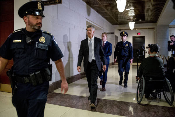 Ambassador William Taylor arrives on Capitol Hill on Tuesday. (Andrew Harnik/AP)