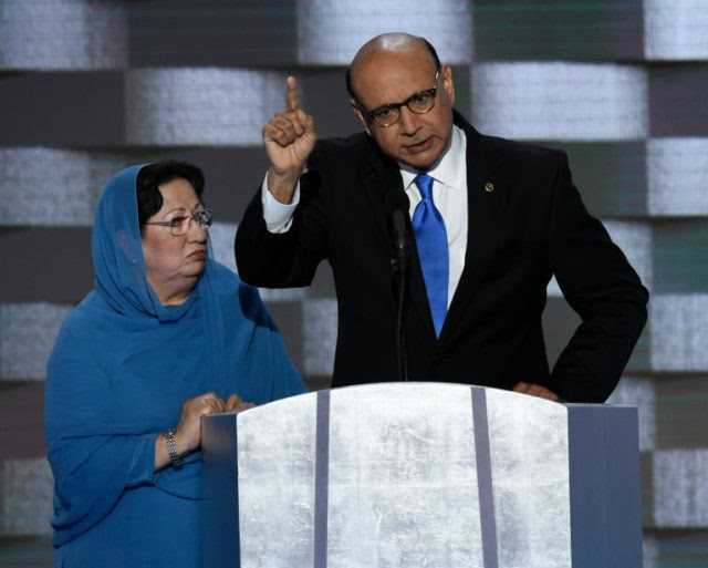 Khizr Khan addresses delegates on the fourth and final day of the Democratic National Convention at Wells Fargo Center on July 28, 2016 in Philadelphia, Pennsylvania