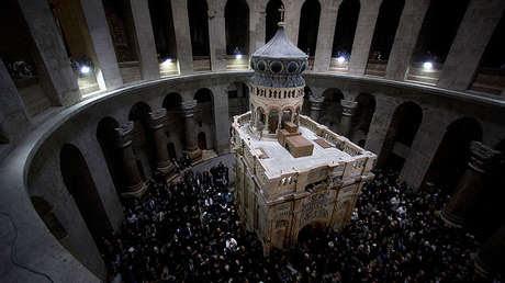 El Edículo renovado en la Iglesia del Santo Sepulcro de Jerusalén, el 22 de marzo de 2017.