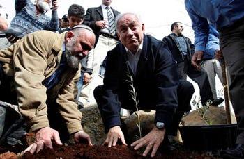 Benjamin Netanyahu plants a sapling in the Golan Heights with Effi Eitam, 2009