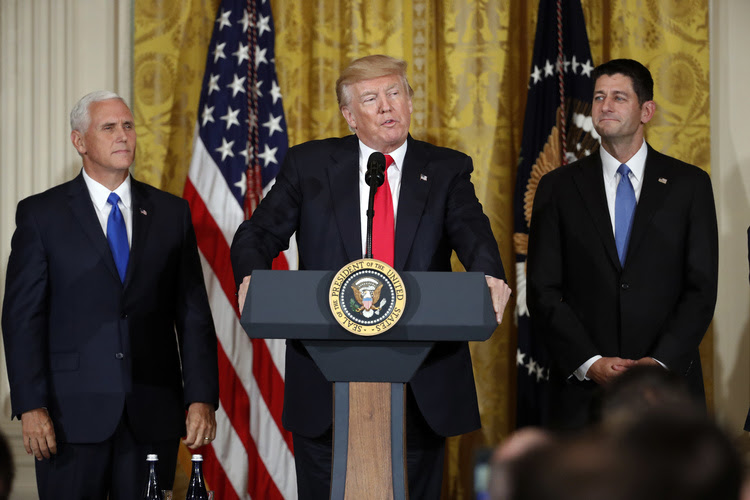 President Trump announcing the first U.S. assembly plant for electronics giant Foxconn in a project that's expected to result in billions of dollars in investment in Wisconsin and create thousands of jobs. (Alex Brandon/AP)