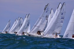 J/70s sailing off start in Cleveland