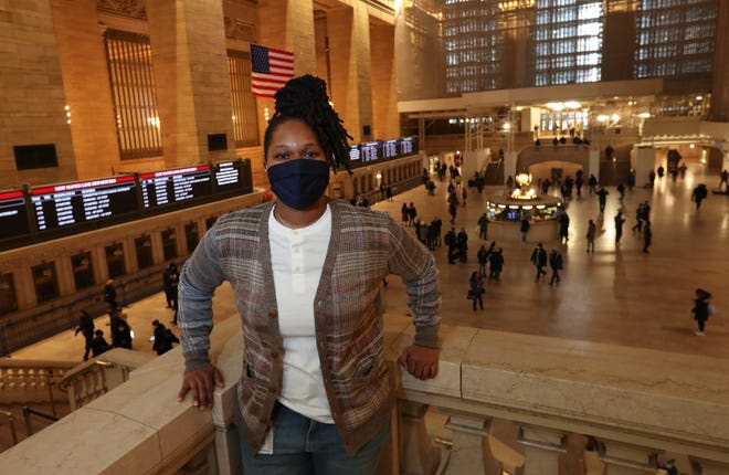 Alainia Tucker, a third-generation MTA-Metro North conductor, photographed at Grand Central Terminal on Friday, February 12, 2021.