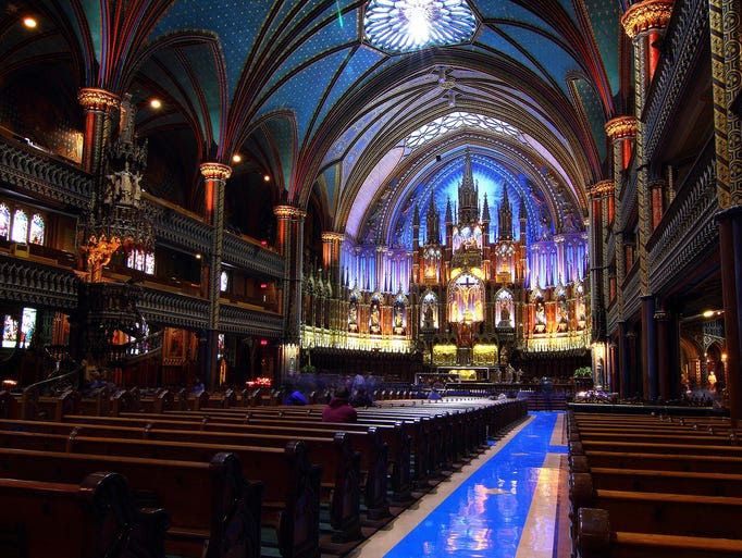 Inspired                                                           by                                                           Sainte-Chapelle                                                           in Paris, the                                                           Notre-Dame                                                           Basilica of                                                           Montreal                                                           elevates the                                                           Gothic-revival                                                           architectural                                                             style to a                                                           stunning                                                           height..