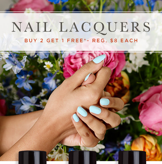 Nail Lacquers. Buy 2 Get 1 FREE.* Regularly $8 each.