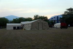 Tienda de campaña instalada en Villanueva para atender contagiados por covid19