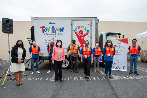 Toy Loan Backpack Giveaway Staff