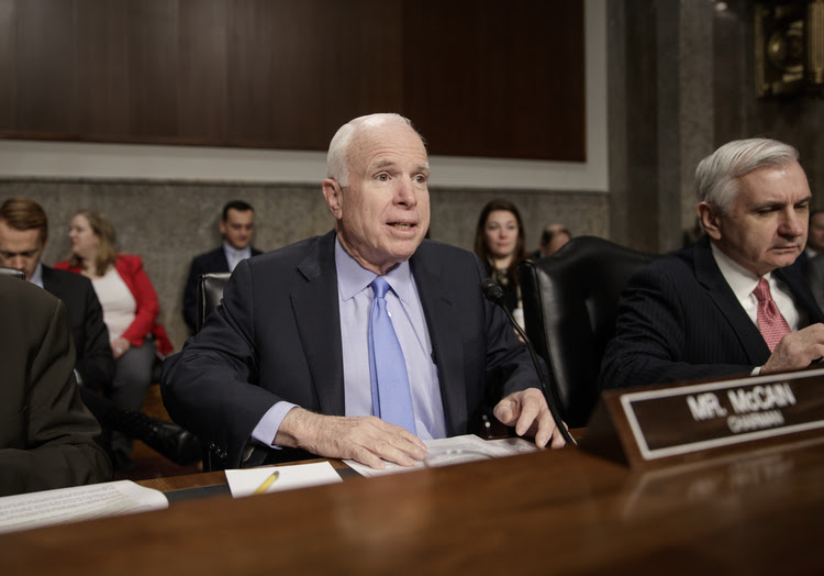 John McCain chairs a hearing of the Senate Armed Services Committee yesterday. (J. Scott Applewhite/AP)</p>