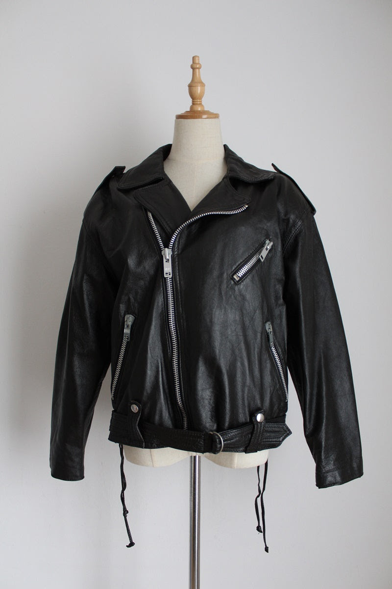 GENUINE LEATHER VINTAGE BLACK BIKER JACKET - SIZE 12