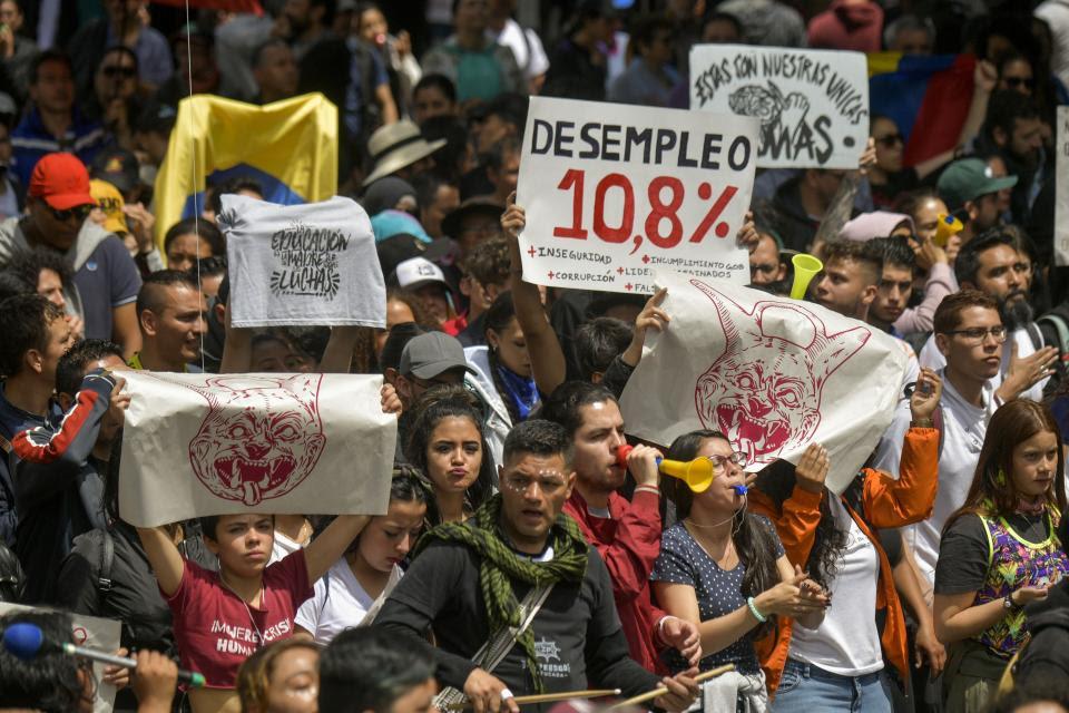 Los manifestantes coparon las calles de la capital colombiana