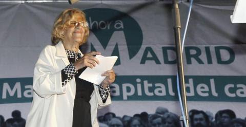 Manuel Carmena, candidata a la alcaldía por Ahora Madrid, se dirige a sus simpatizantes tras conocer los resultados electorales. EFE/Alberto Martin