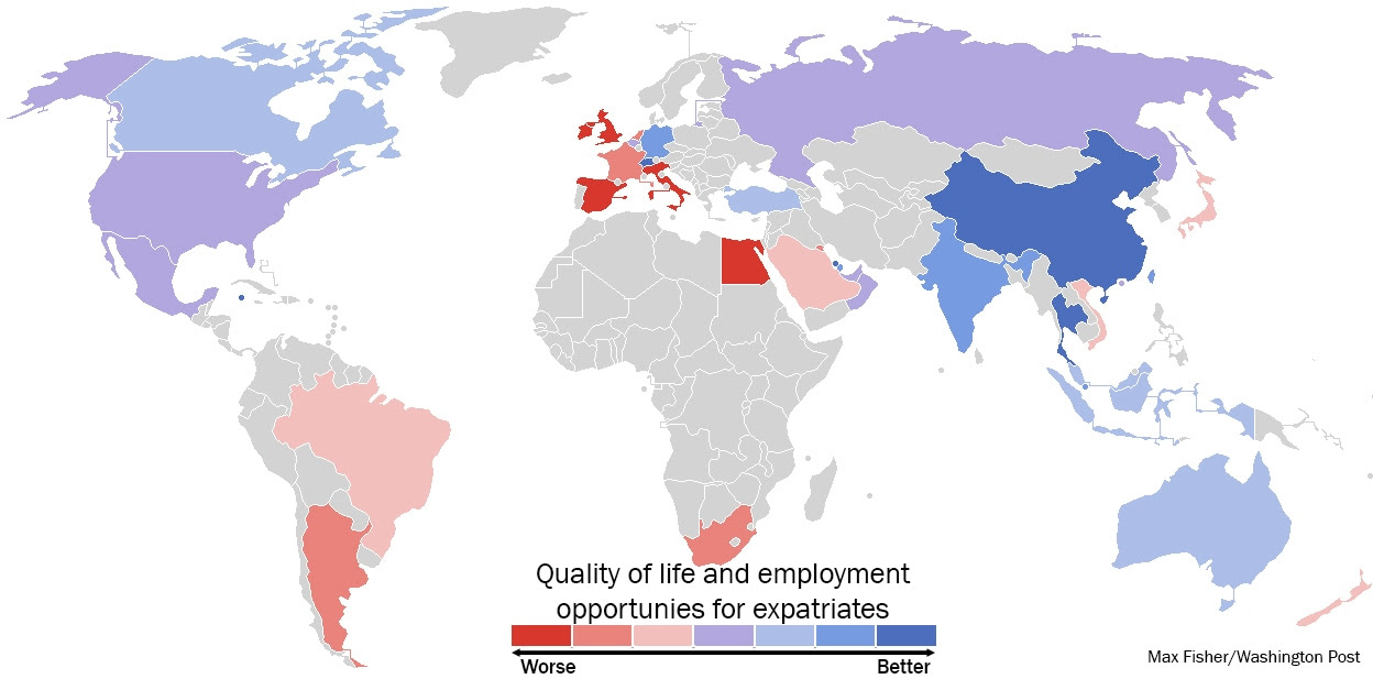 The best and worst countries to be an expat. Data source; HSBC. Click to enlarge. (Max Fisher/Washington Post)