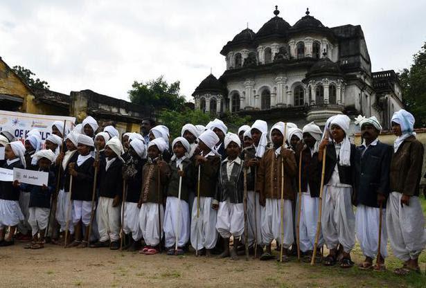 Children dressed up as Bharati in Tamil Nadu.